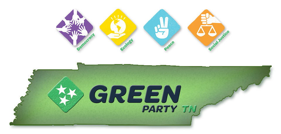 Green Party of TN log with 4 pillars: Democracy, Ecology, Peace and Social Justrice